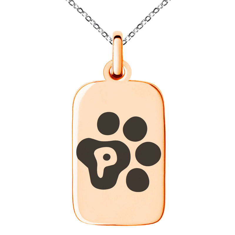 Stainless Steel Letter P Initial Cat Dog Paws Monogram Engraved Small Rectangle Dog Tag Charm Pendant Necklace
