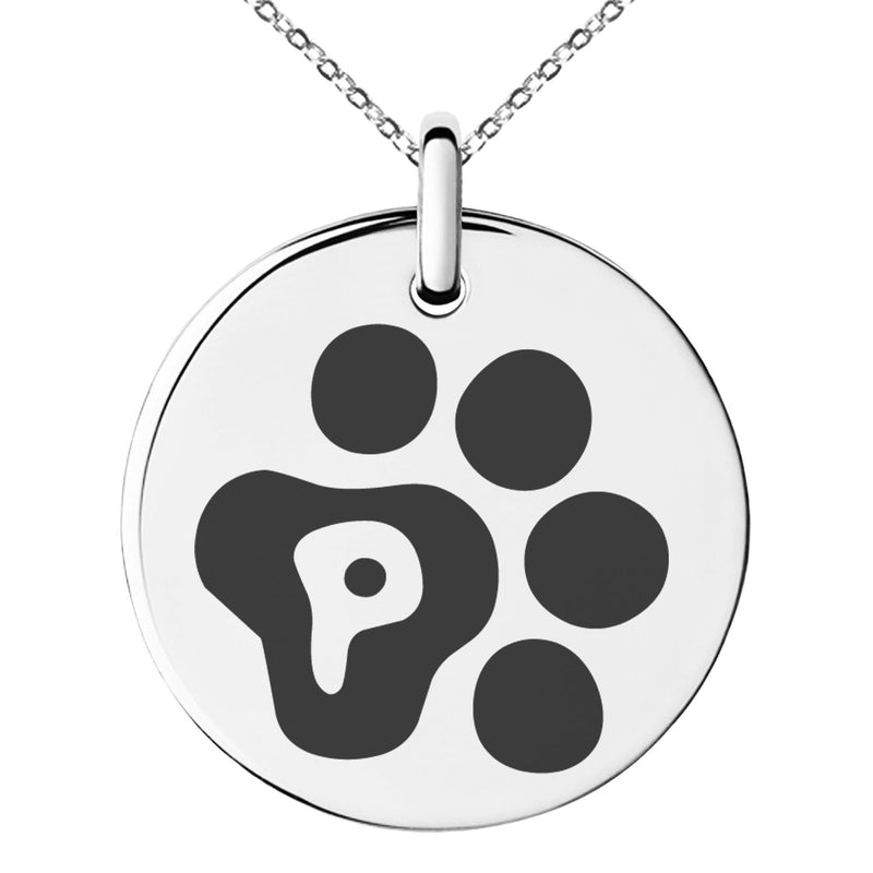 Stainless Steel Letter P Initial Cat Dog Paws Monogram Engraved Small Medallion Circle Charm Pendant Necklace