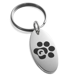 Stainless Steel Letter Q Initial Cat Dog Paws Monogram Engraved Small Oval Charm Keychain Keyring - Tioneer