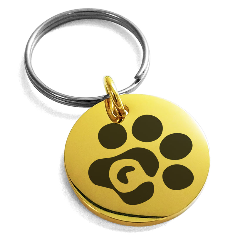 Stainless Steel Letter Q Initial Cat Dog Paws Monogram Engraved Small Medallion Circle Charm Keychain Keyring - Tioneer