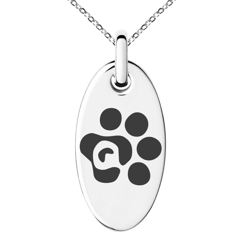 Stainless Steel Letter Q Initial Cat Dog Paws Monogram Engraved Small Oval Charm Pendant Necklace