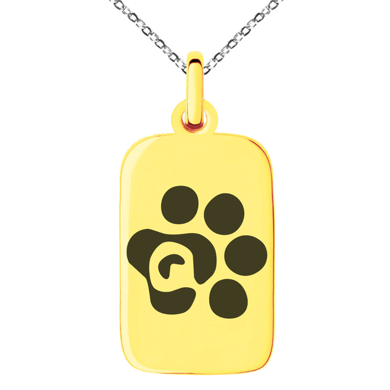 Stainless Steel Letter Q Initial Cat Dog Paws Monogram Engraved Small Rectangle Dog Tag Charm Pendant Necklace
