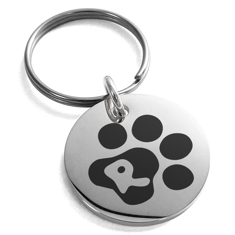 Stainless Steel Letter R Initial Cat Dog Paws Monogram Engraved Small Medallion Circle Charm Keychain Keyring - Tioneer