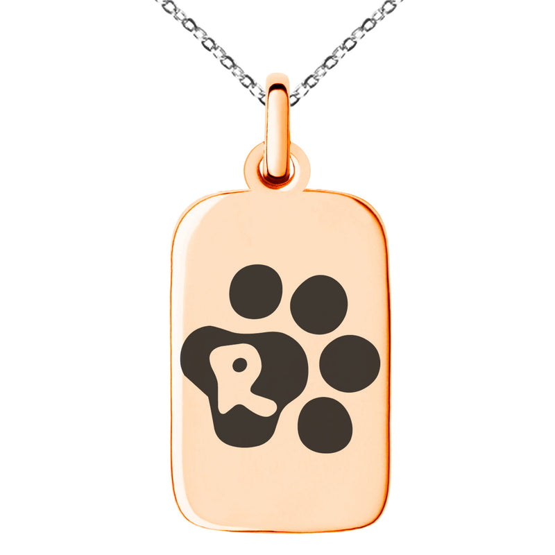 Stainless Steel Letter R Initial Cat Dog Paws Monogram Engraved Small Rectangle Dog Tag Charm Pendant Necklace