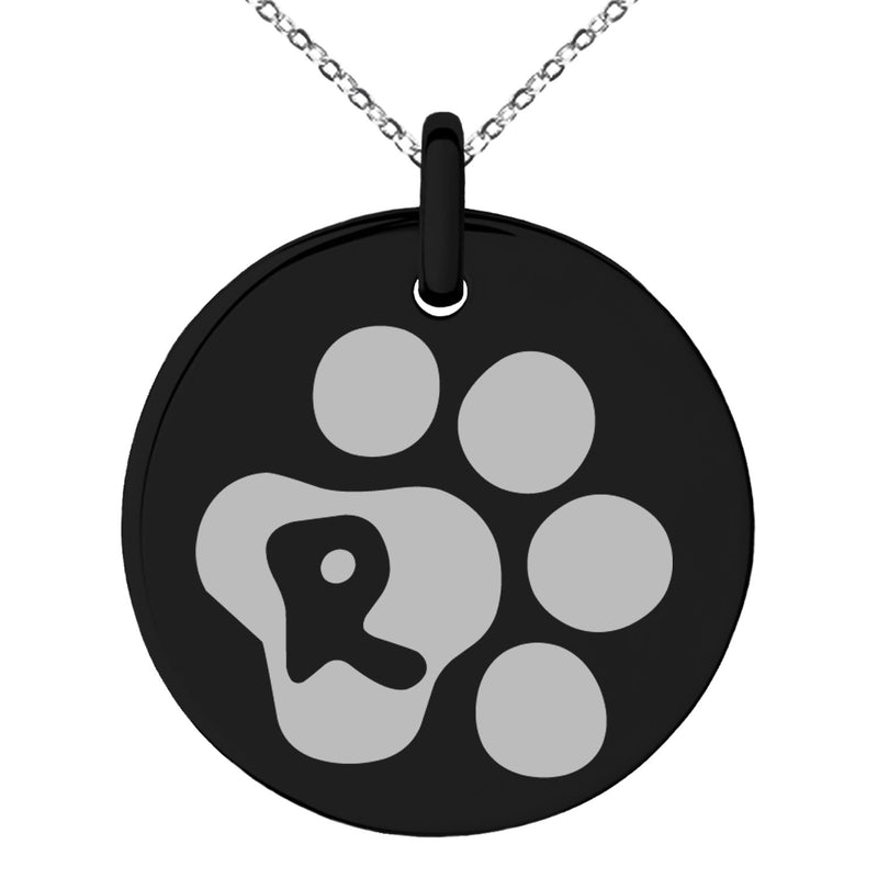 Stainless Steel Letter R Initial Cat Dog Paws Monogram Engraved Small Medallion Circle Charm Pendant Necklace