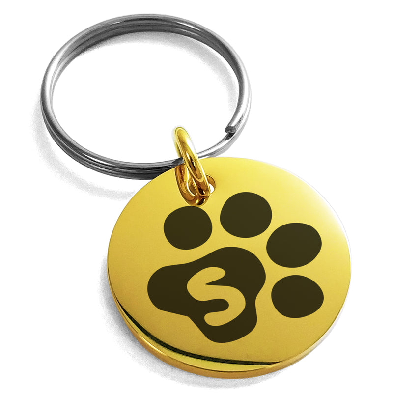 Stainless Steel Letter S Initial Cat Dog Paws Monogram Engraved Small Medallion Circle Charm Keychain Keyring - Tioneer