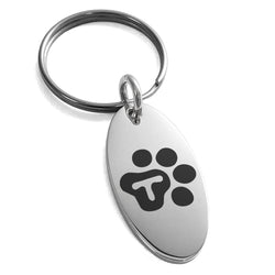 Stainless Steel Letter T Initial Cat Dog Paws Monogram Engraved Small Oval Charm Keychain Keyring - Tioneer