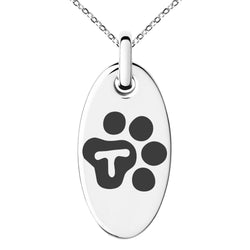 Stainless Steel Letter T Initial Cat Dog Paws Monogram Engraved Small Oval Charm Pendant Necklace