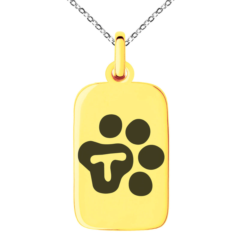 Stainless Steel Letter T Initial Cat Dog Paws Monogram Engraved Small Rectangle Dog Tag Charm Pendant Necklace