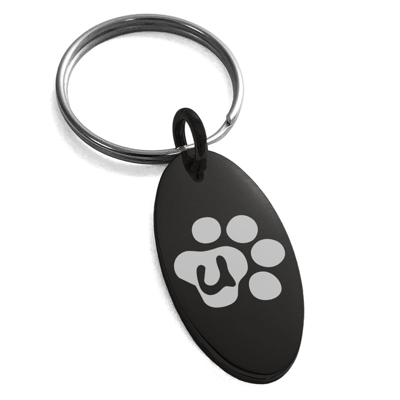 Stainless Steel Letter U Initial Cat Dog Paws Monogram Engraved Small Oval Charm Keychain Keyring - Tioneer