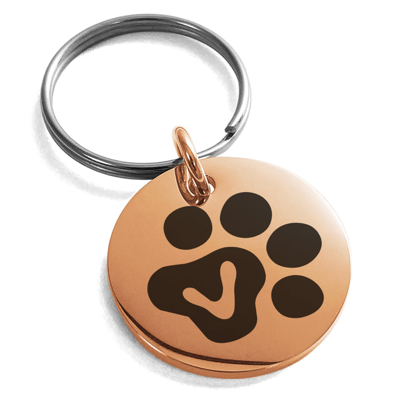 Stainless Steel Letter V Initial Cat Dog Paws Monogram Engraved Small Medallion Circle Charm Keychain Keyring - Tioneer
