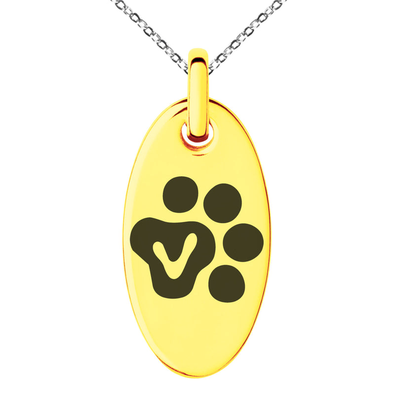 Stainless Steel Letter V Initial Cat Dog Paws Monogram Engraved Small Oval Charm Pendant Necklace