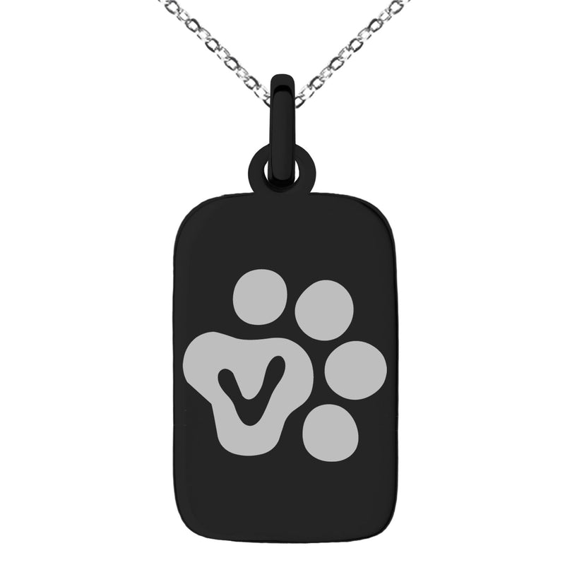 Stainless Steel Letter V Initial Cat Dog Paws Monogram Engraved Small Rectangle Dog Tag Charm Pendant Necklace