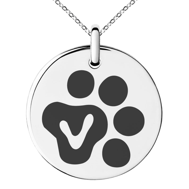 Stainless Steel Letter V Initial Cat Dog Paws Monogram Engraved Small Medallion Circle Charm Pendant Necklace