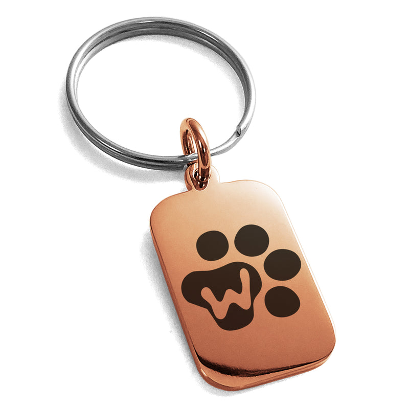 Stainless Steel Letter W Initial Cat Dog Paws Monogram Engraved Small Rectangle Dog Tag Charm Keychain Keyring - Tioneer