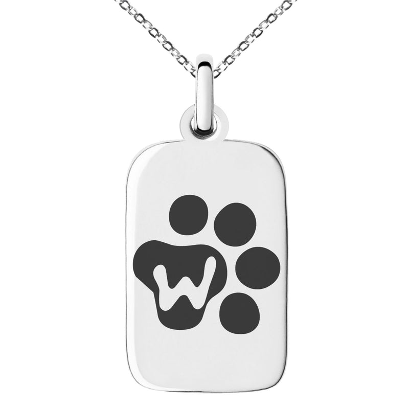 Stainless Steel Letter W Initial Cat Dog Paws Monogram Engraved Small Rectangle Dog Tag Charm Pendant Necklace