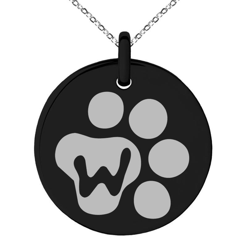 Stainless Steel Letter W Initial Cat Dog Paws Monogram Engraved Small Medallion Circle Charm Pendant Necklace