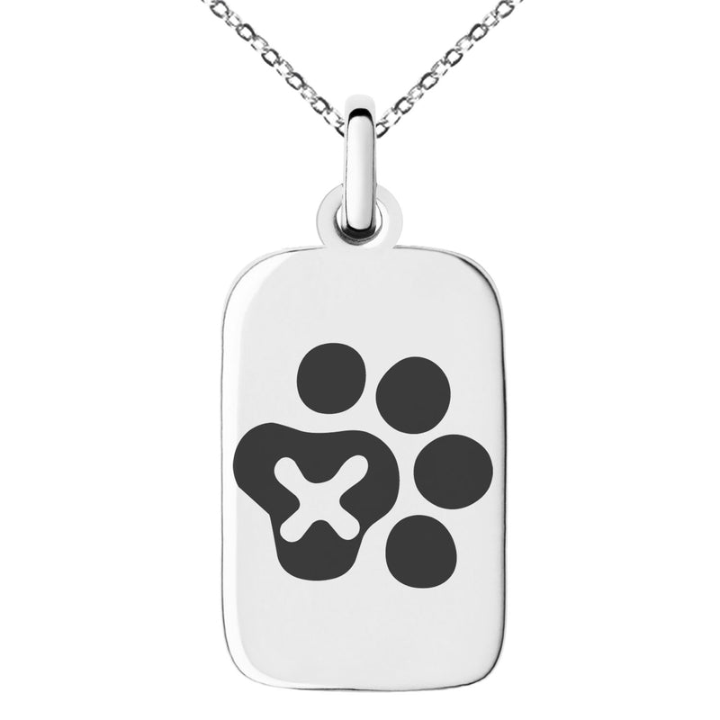 Stainless Steel Letter X Initial Cat Dog Paws Monogram Engraved Small Rectangle Dog Tag Charm Pendant Necklace