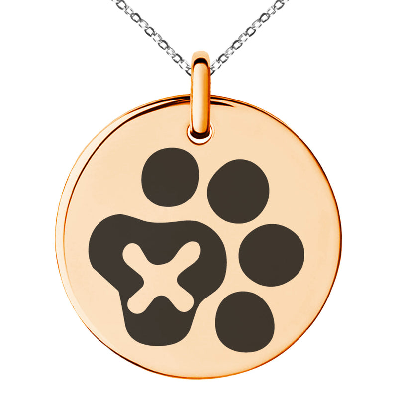 Stainless Steel Letter X Initial Cat Dog Paws Monogram Engraved Small Medallion Circle Charm Pendant Necklace