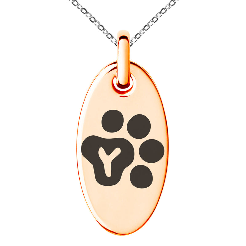 Stainless Steel Letter Y Initial Cat Dog Paws Monogram Engraved Small Oval Charm Pendant Necklace - Tioneer