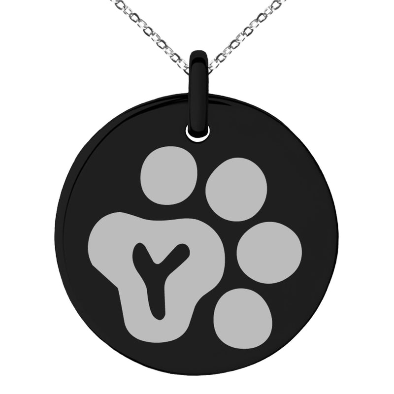 Stainless Steel Letter Y Initial Cat Dog Paws Monogram Engraved Small Medallion Circle Charm Pendant Necklace - Tioneer