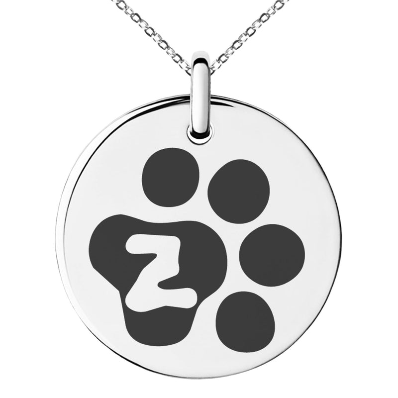 Stainless Steel Letter Z Initial Cat Dog Paws Monogram Engraved Small Medallion Circle Charm Pendant Necklace - Tioneer