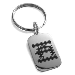 Stainless Steel Letter A Initial Empire Monogram Engraved Small Rectangle Dog Tag Charm Keychain Keyring - Tioneer
