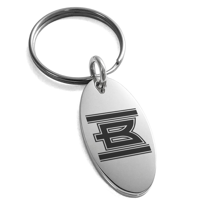 Stainless Steel Letter B Initial Empire Monogram Engraved Small Oval Charm Keychain Keyring - Tioneer