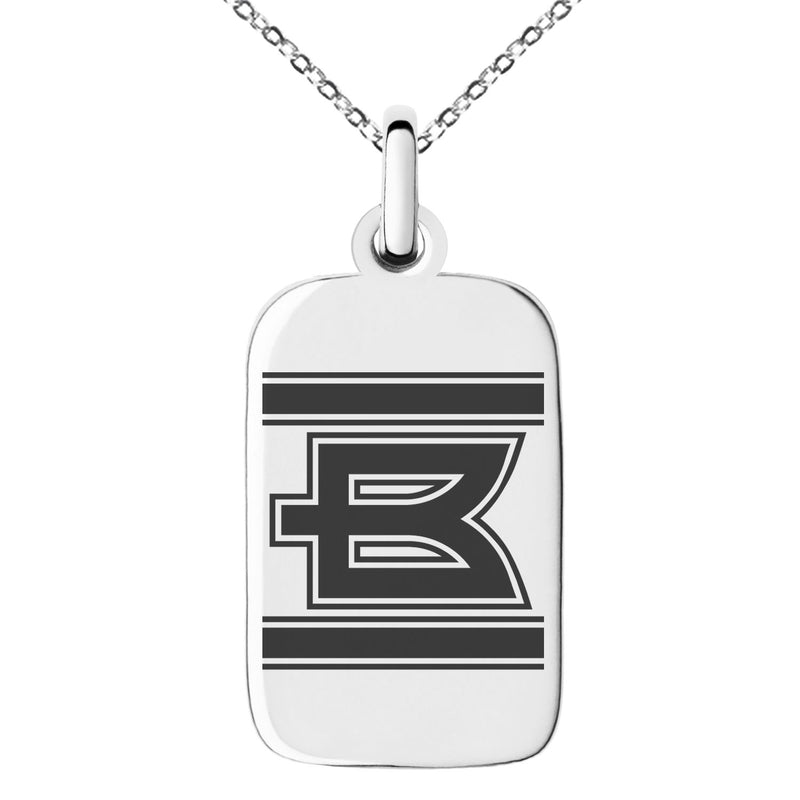Stainless Steel Letter B Initial Empire Monogram Engraved Small Rectangle Dog Tag Charm Pendant Necklace