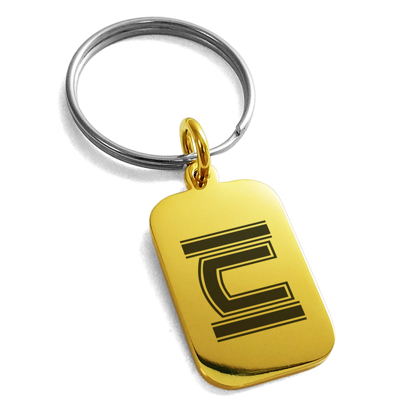 Stainless Steel Letter C Initial Empire Monogram Engraved Small Rectangle Dog Tag Charm Keychain Keyring - Tioneer