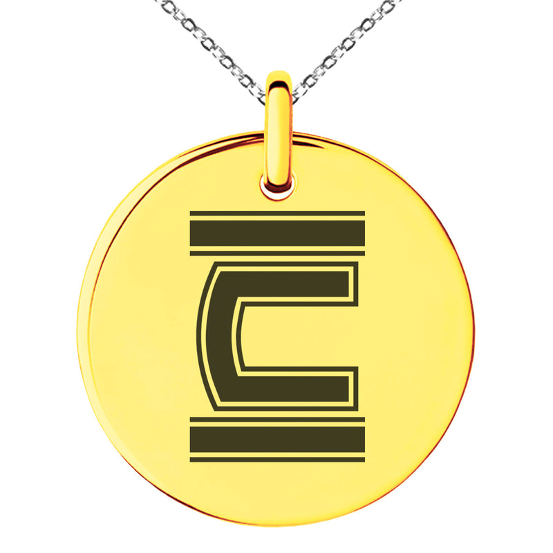 Stainless Steel Letter C Initial Empire Monogram Engraved Small Medallion Circle Charm Pendant Necklace