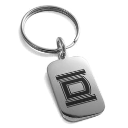 Stainless Steel Letter D Initial Empire Monogram Engraved Small Rectangle Dog Tag Charm Keychain Keyring - Tioneer