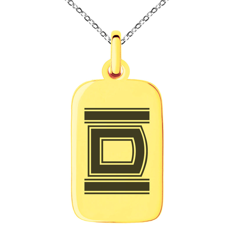 Stainless Steel Letter D Initial Empire Monogram Engraved Small Rectangle Dog Tag Charm Pendant Necklace