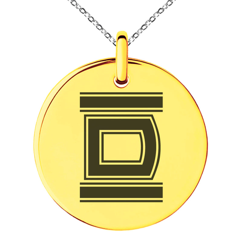 Stainless Steel Letter D Initial Empire Monogram Engraved Small Medallion Circle Charm Pendant Necklace