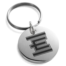 Stainless Steel Letter E Initial Empire Monogram Engraved Small Medallion Circle Charm Keychain Keyring - Tioneer