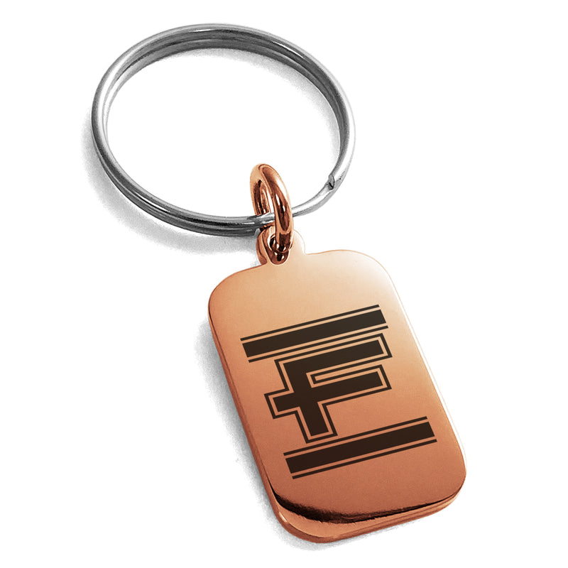 Stainless Steel Letter F Initial Empire Monogram Engraved Small Rectangle Dog Tag Charm Keychain Keyring - Tioneer