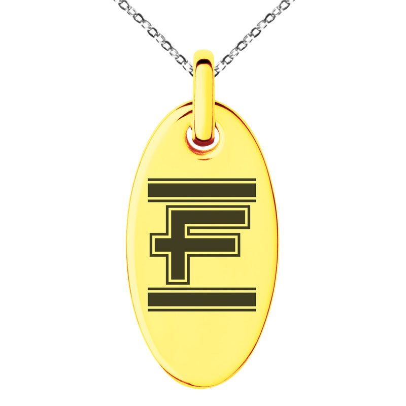 Stainless Steel Letter F Initial Empire Monogram Engraved Small Oval Charm Pendant Necklace