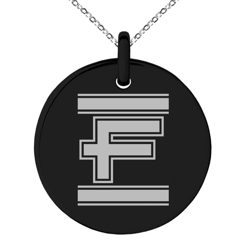 Stainless Steel Letter F Initial Empire Monogram Engraved Small Medallion Circle Charm Pendant Necklace