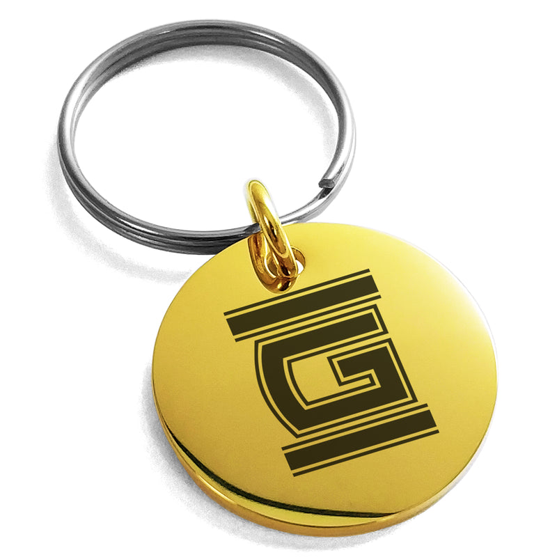 Stainless Steel Letter G Initial Empire Monogram Engraved Small Medallion Circle Charm Keychain Keyring - Tioneer