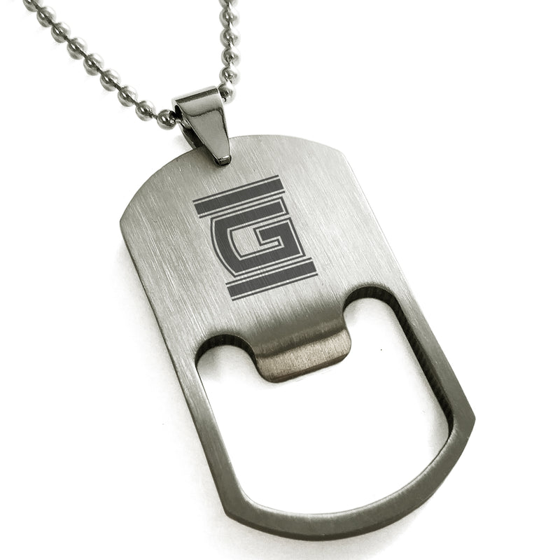 Stainless Steel Letter G Alphabet Initial Empire Monogram Engraved Bottle Opener Dog Tag Pendant Necklace - Tioneer