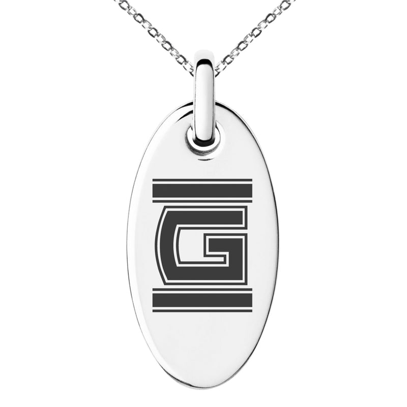 Stainless Steel Letter G Initial Empire Monogram Engraved Small Oval Charm Pendant Necklace