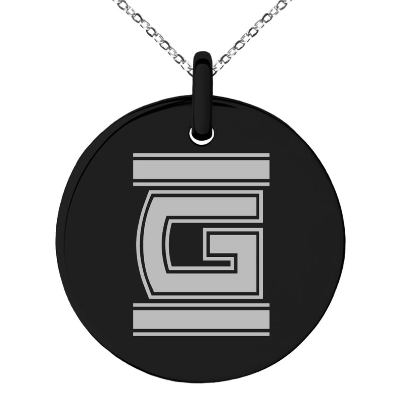 Stainless Steel Letter G Initial Empire Monogram Engraved Small Medallion Circle Charm Pendant Necklace