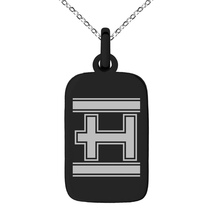 Stainless Steel Letter H Initial Empire Monogram Engraved Small Rectangle Dog Tag Charm Pendant Necklace