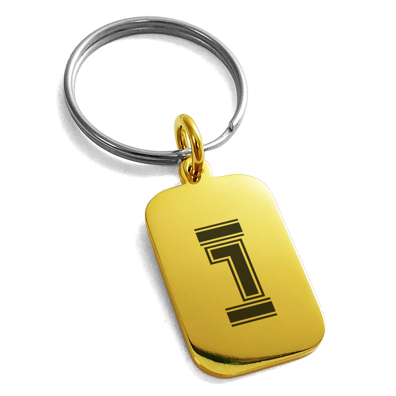 Stainless Steel Letter I Initial Empire Monogram Engraved Small Rectangle Dog Tag Charm Keychain Keyring - Tioneer