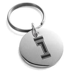 Stainless Steel Letter I Initial Empire Monogram Engraved Small Medallion Circle Charm Keychain Keyring - Tioneer