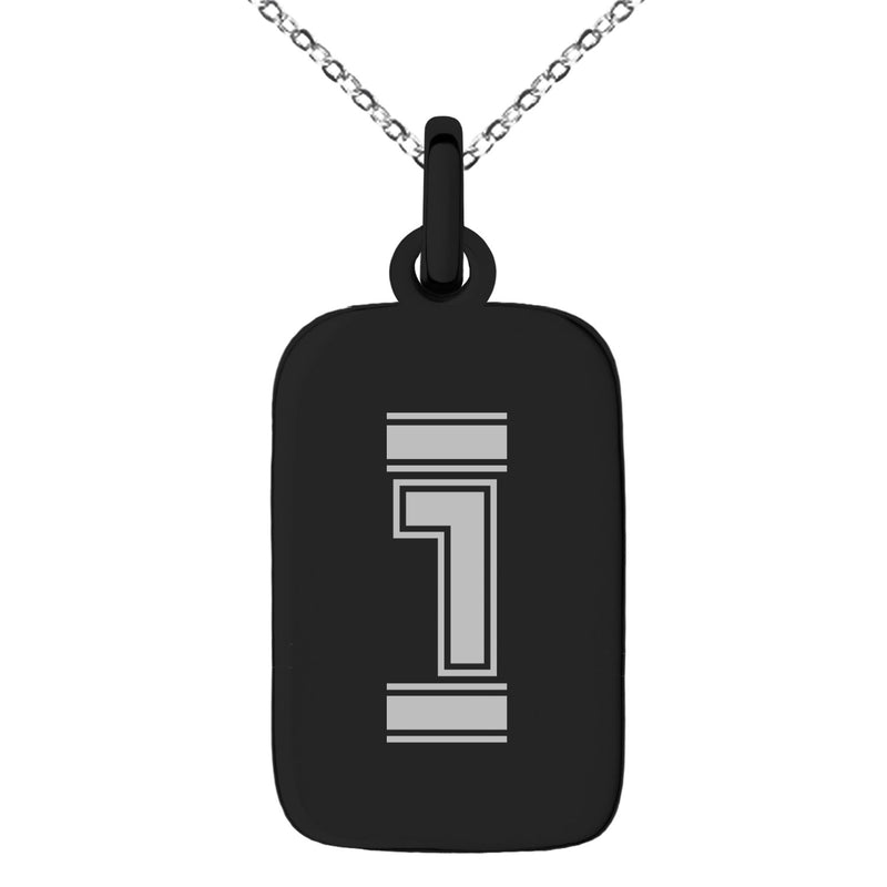 Stainless Steel Letter I Initial Empire Monogram Engraved Small Rectangle Dog Tag Charm Pendant Necklace