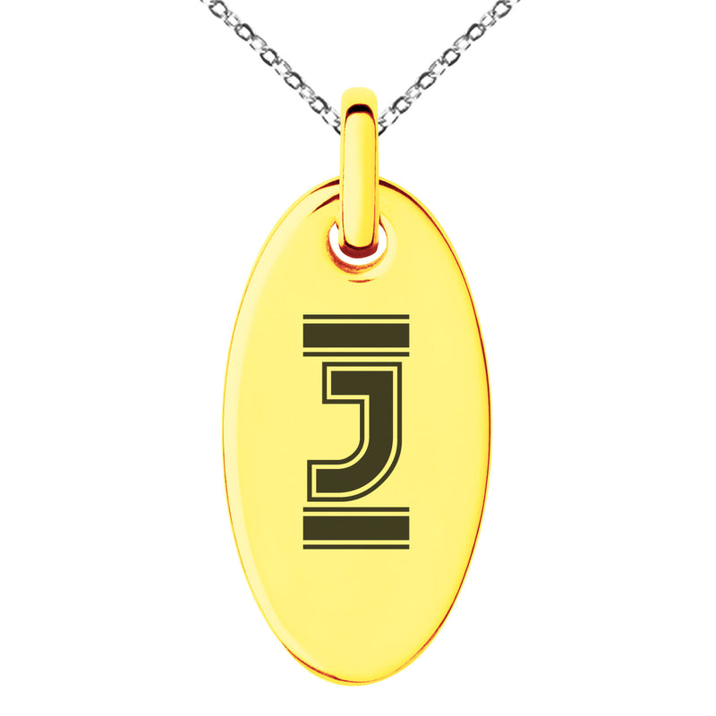Stainless Steel Letter J Initial Empire Monogram Engraved Small Oval Charm Pendant Necklace