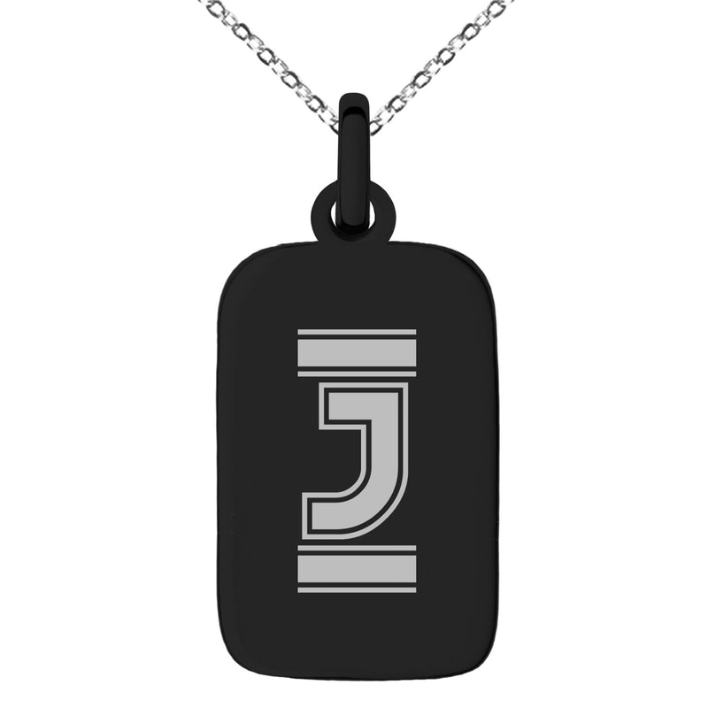 Stainless Steel Letter J Initial Empire Monogram Engraved Small Rectangle Dog Tag Charm Pendant Necklace