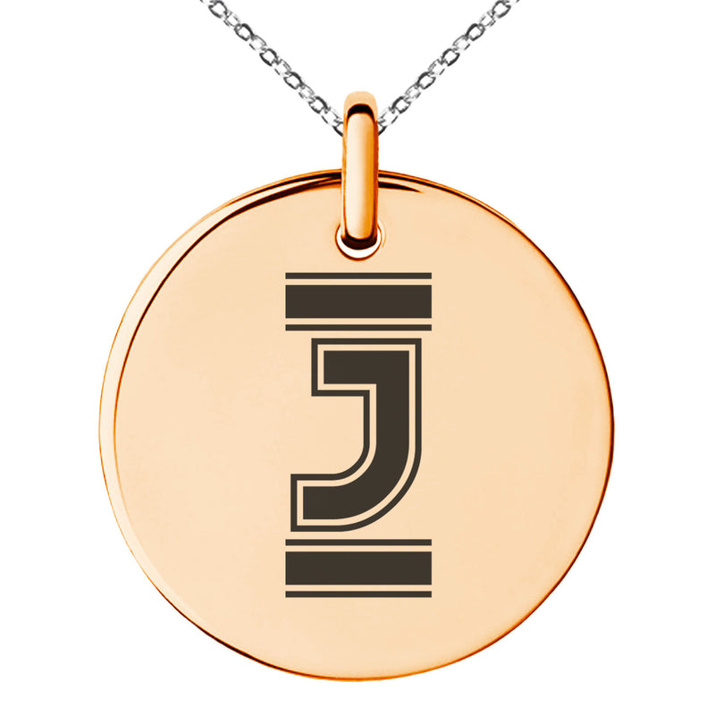 Stainless Steel Letter J Initial Empire Monogram Engraved Small Medallion Circle Charm Pendant Necklace