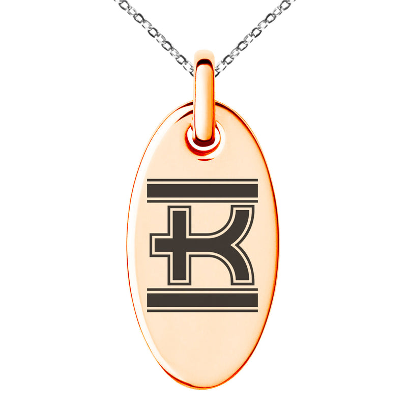 Stainless Steel Letter K Initial Empire Monogram Engraved Small Oval Charm Pendant Necklace